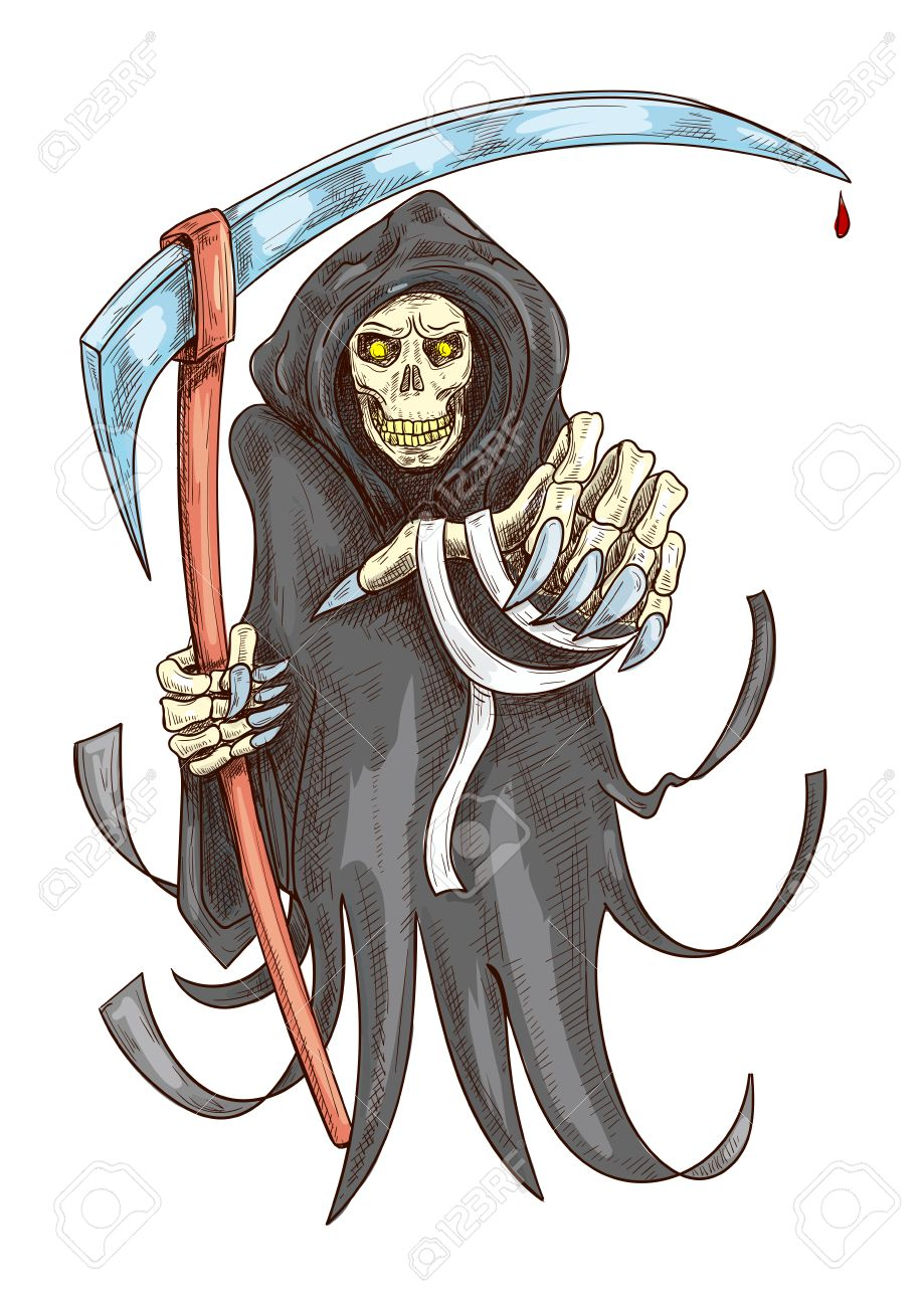 Death Reaper In Robe With Scythe Halloween Scary Horror Grim