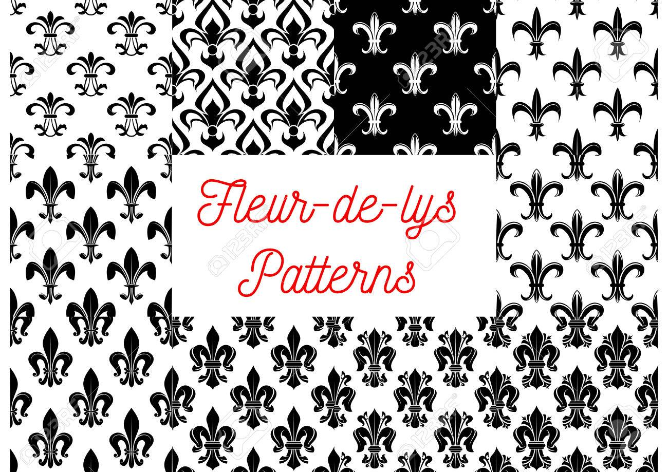 Fleur De Lis Seamless Patterns Set Black And White Vintage Backgrounds With
