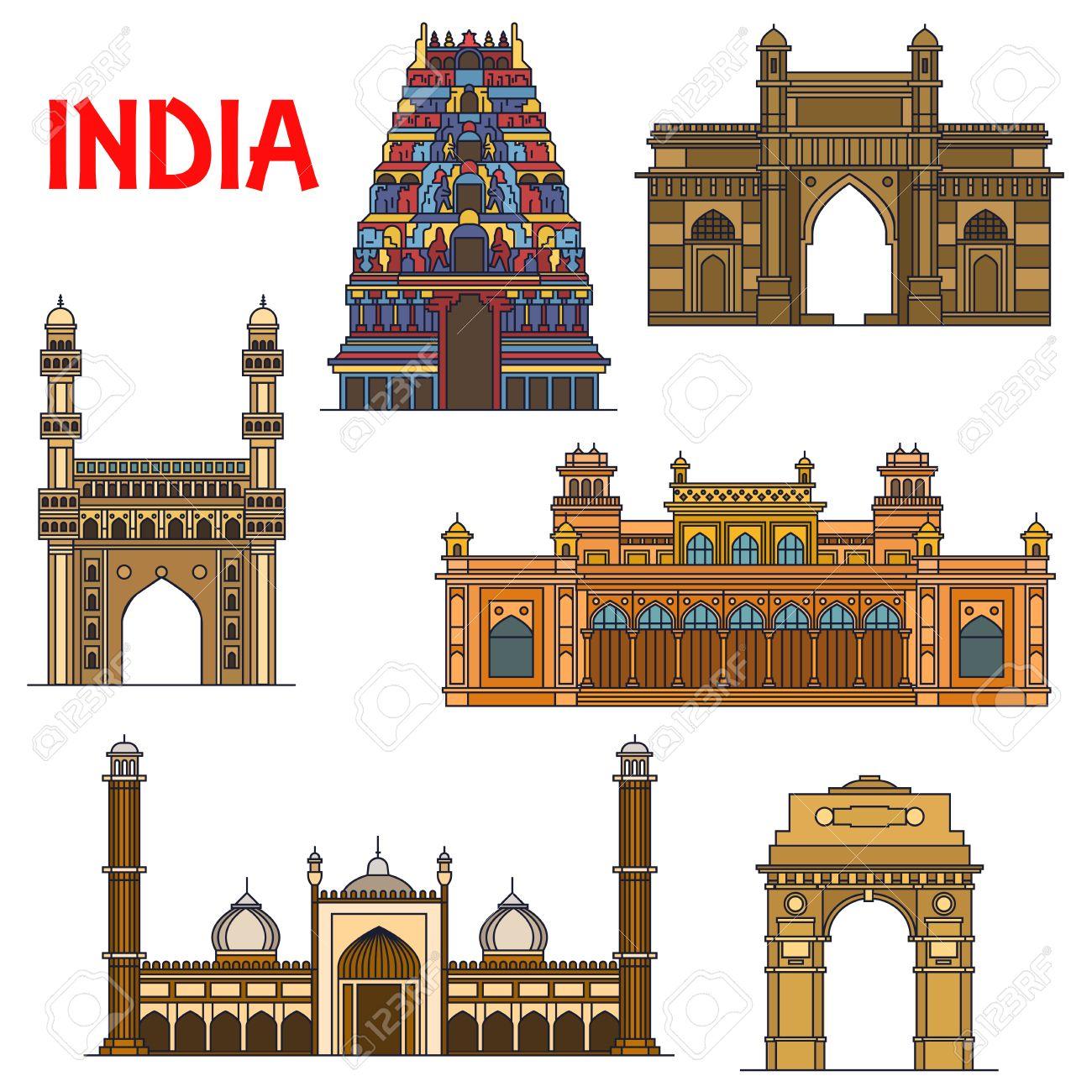 Travel landmarks of indian architecture icon with thin line India Gate, hindu Meenakshi Amman Temple, Gateway of India, islamic mosque Jama Masjid, mosque Charminar, royal palace Chowmahalla - 62639032