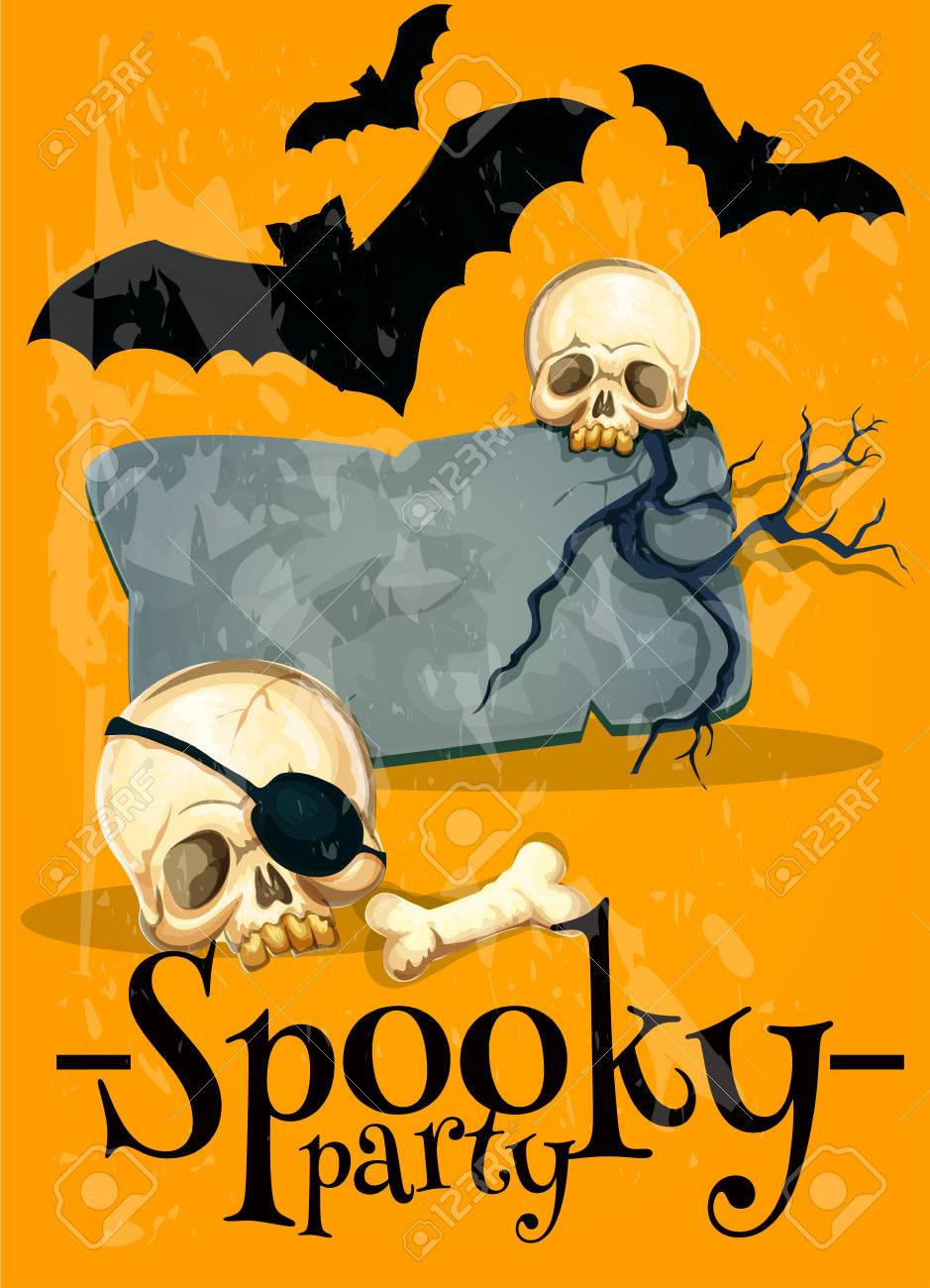 Invitation Poster To Spooky Halloween Party Vector Horror Style