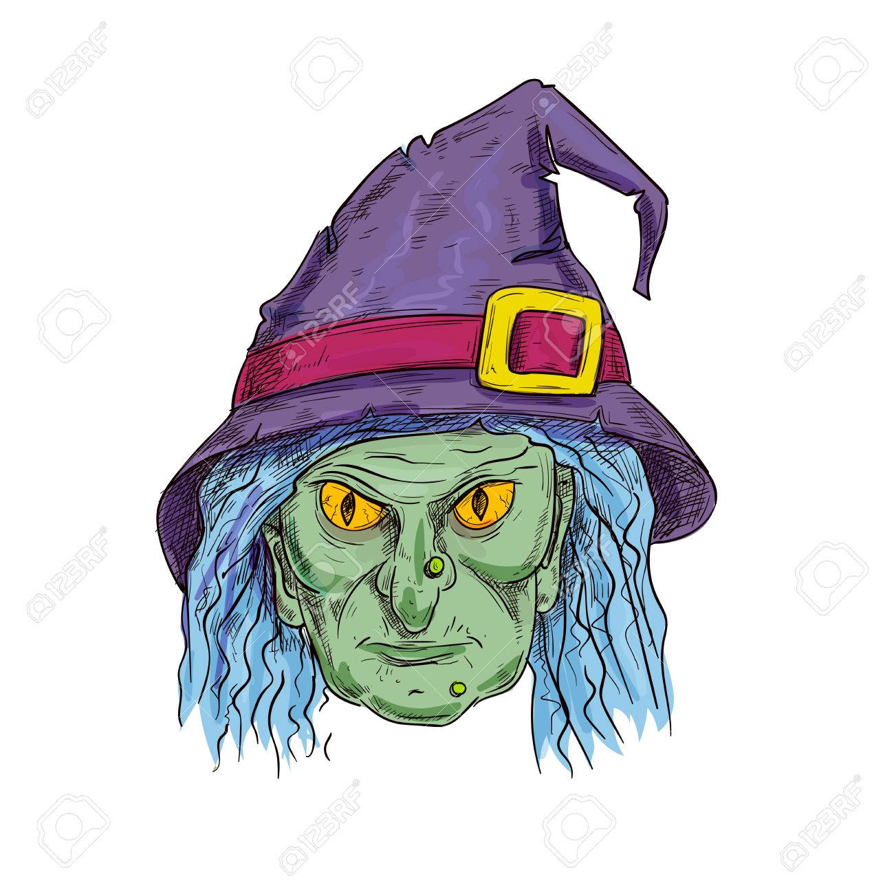 Halloween Cartoon Witch Face.Old Witch With Ugly Face In Purple Sorcerer Hat And Blue Hair
