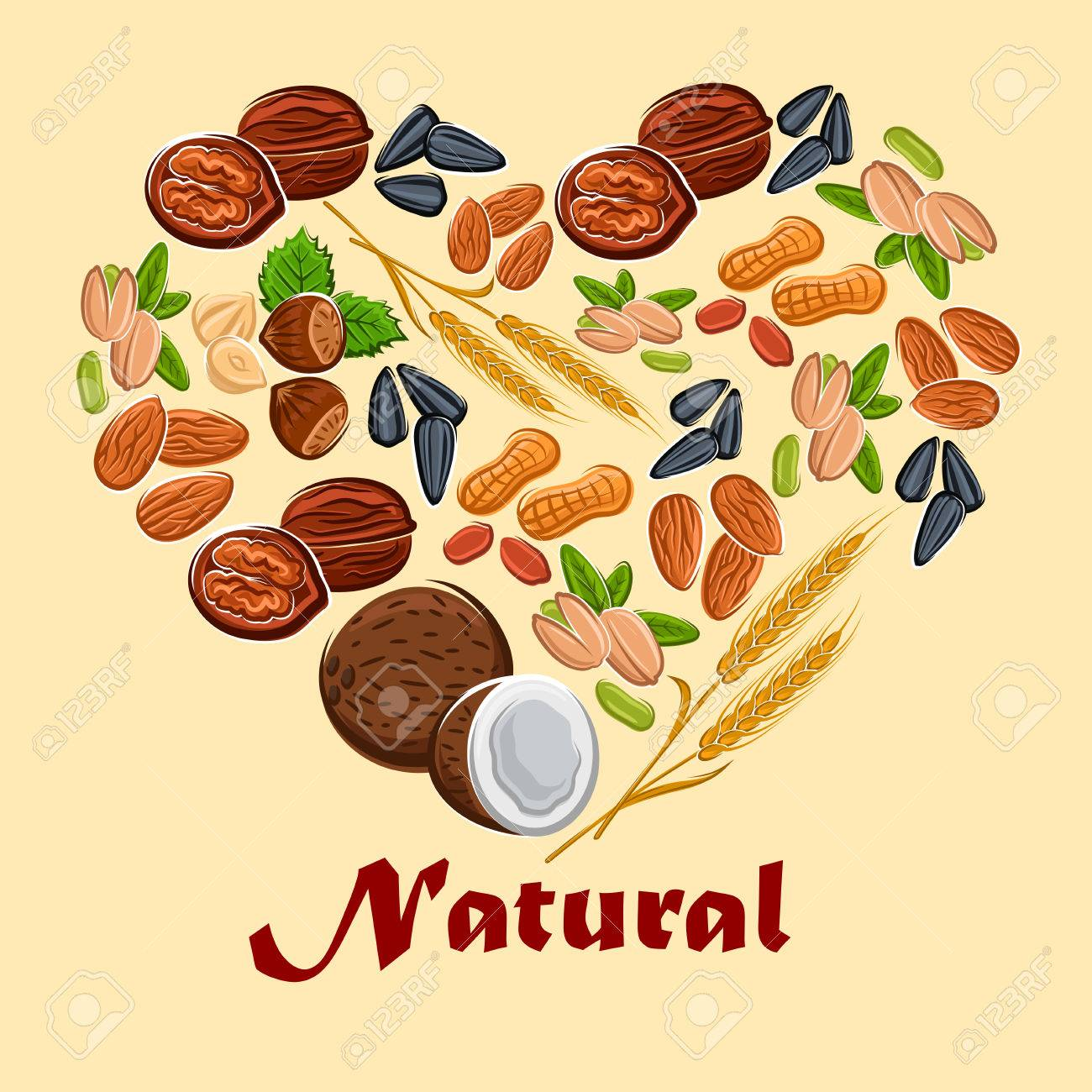 natural nuts and cereals nutrition poster placard in heart shape