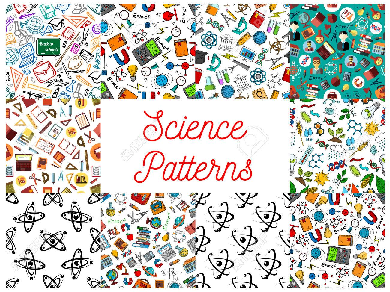 Science And Knowledge Seamless Backgrounds Wallpaper Patterns Of Microscope Atom Dna Chemicals