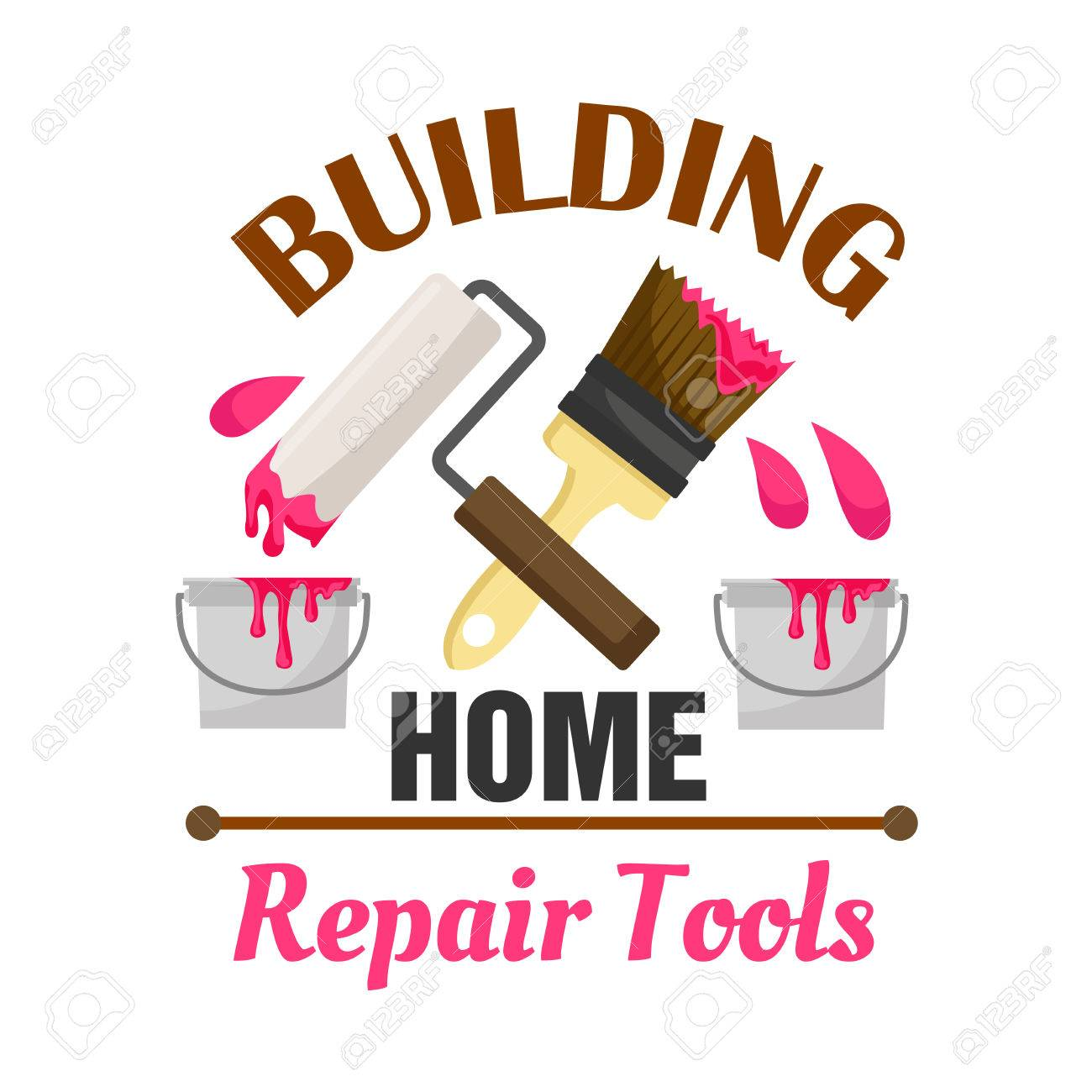 home building and repair work tools icon emblem vector icon of paint bucket roller - Home Building Tools