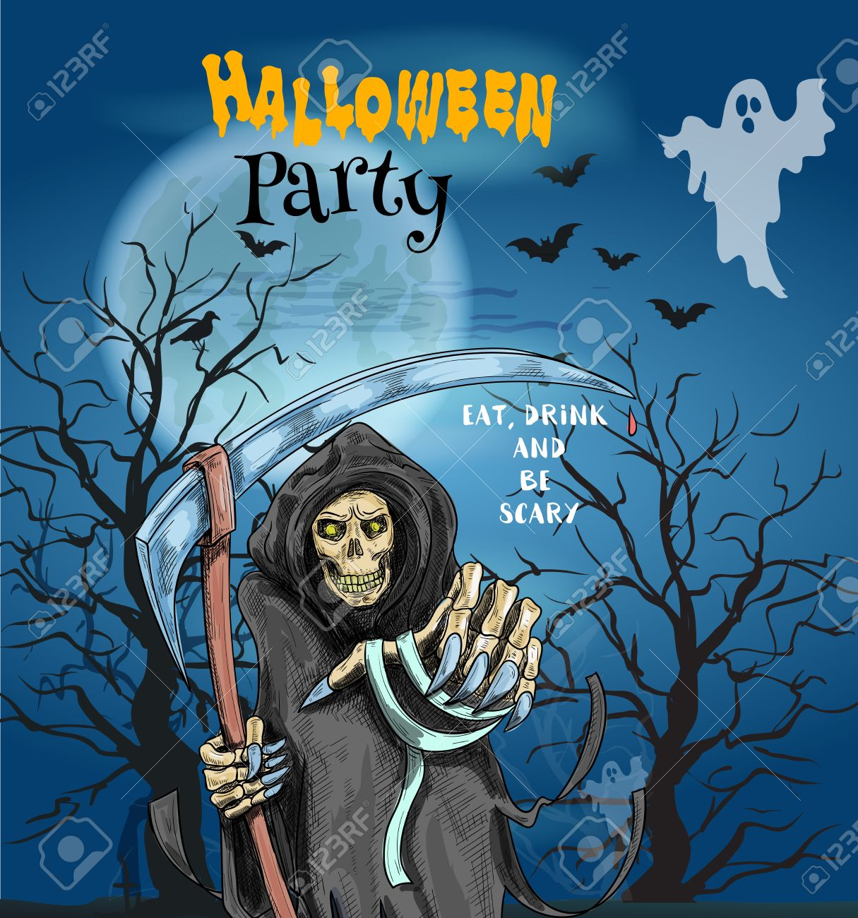 Halloween Party Invitation Card, Poster With Text Eat, Drink ...