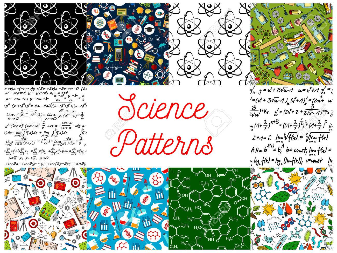 Science Backgrounds With Patterns Seamless Wallpaper Icons Of Formula Microscope Telescope