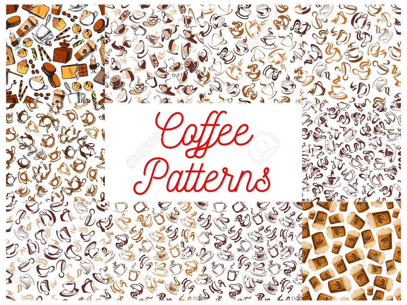 コーヒーのシームレスなパターンの背景 コーヒー カップ コーヒー