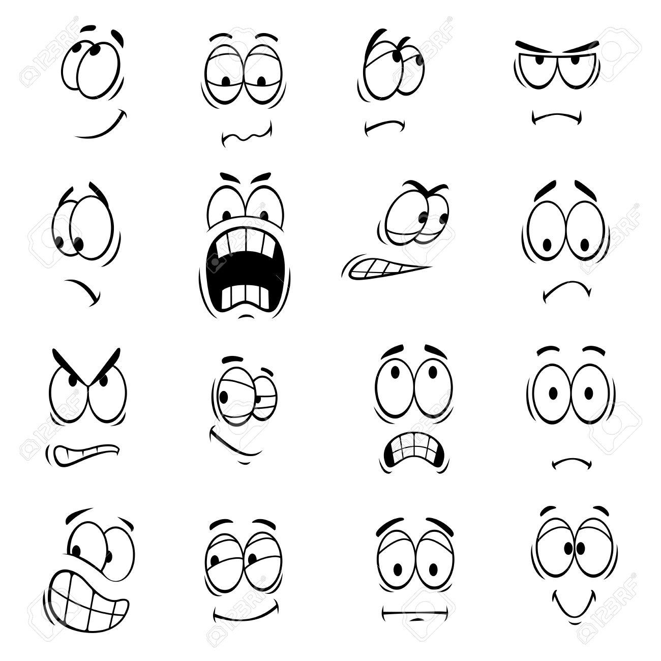 El Dibujo Animado Humanos Con Expresiones Faciales Y Emociones Linda Sonríe Iconos De Emoticonos Emoji Elementos Del Vector Sonriente Feliz