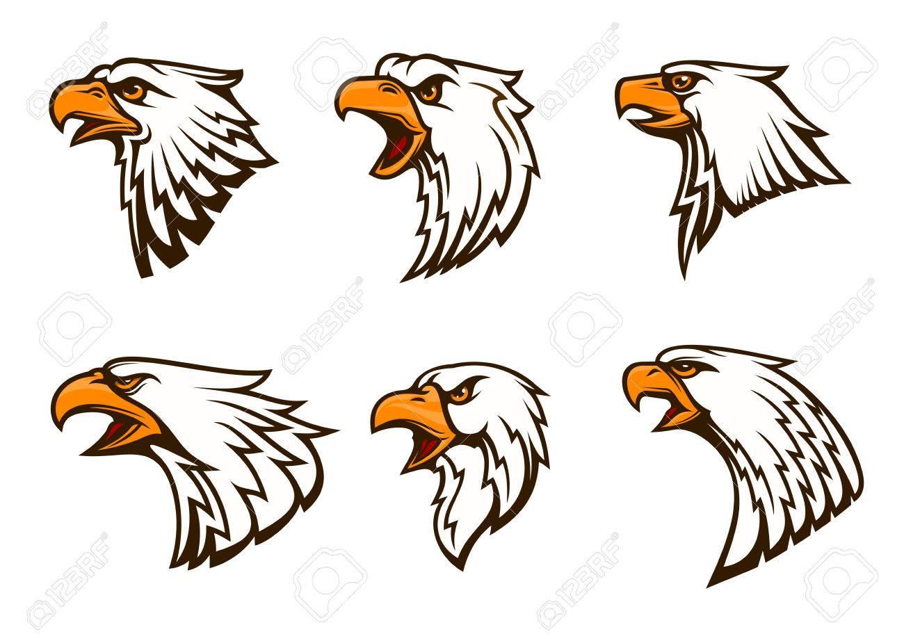 bald eagle vector emblems set isolated icons of hawk with beak rh 123rf com bald eagle vector brush photoshop bald eagle vector art free