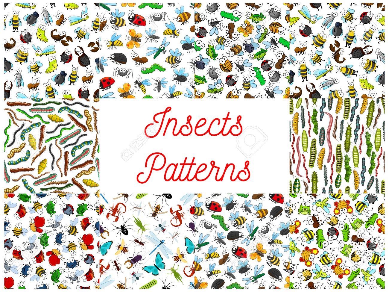 Patrones De Costura Insectos Y Bichos De Dibujos Animados. Vector ...
