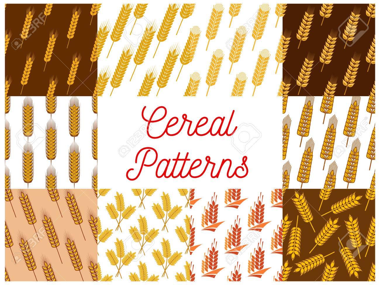Patrones de costura de cereales. Vector patrón de trigo, cebada, centeno  oídos, plantas de grano para el envasado de productos de pan, pastelería ...
