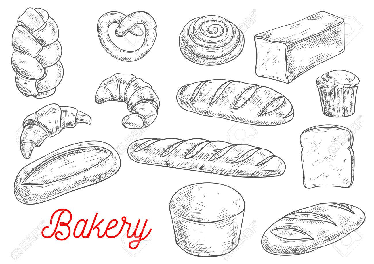 Sketched Wheat Bread Croissant And Baguette Cupcake Cinnamon Royalty Free Cliparts Vectors And Stock Illustration Image 64950483