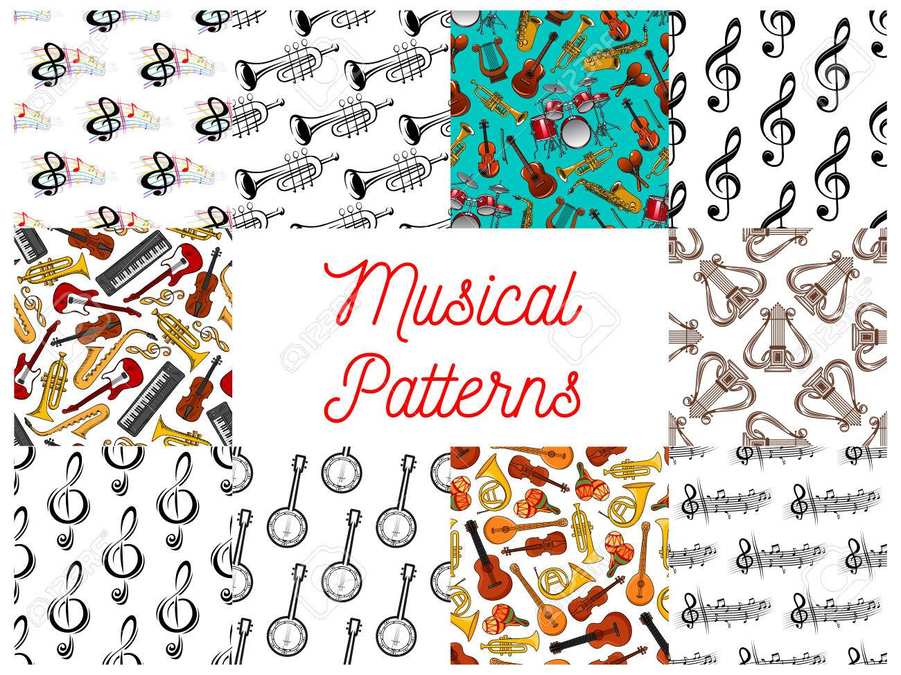 Music seamless patterns set with musical notes string wind music seamless patterns set with musical notes string wind percussion and keyboard musical biocorpaavc Images