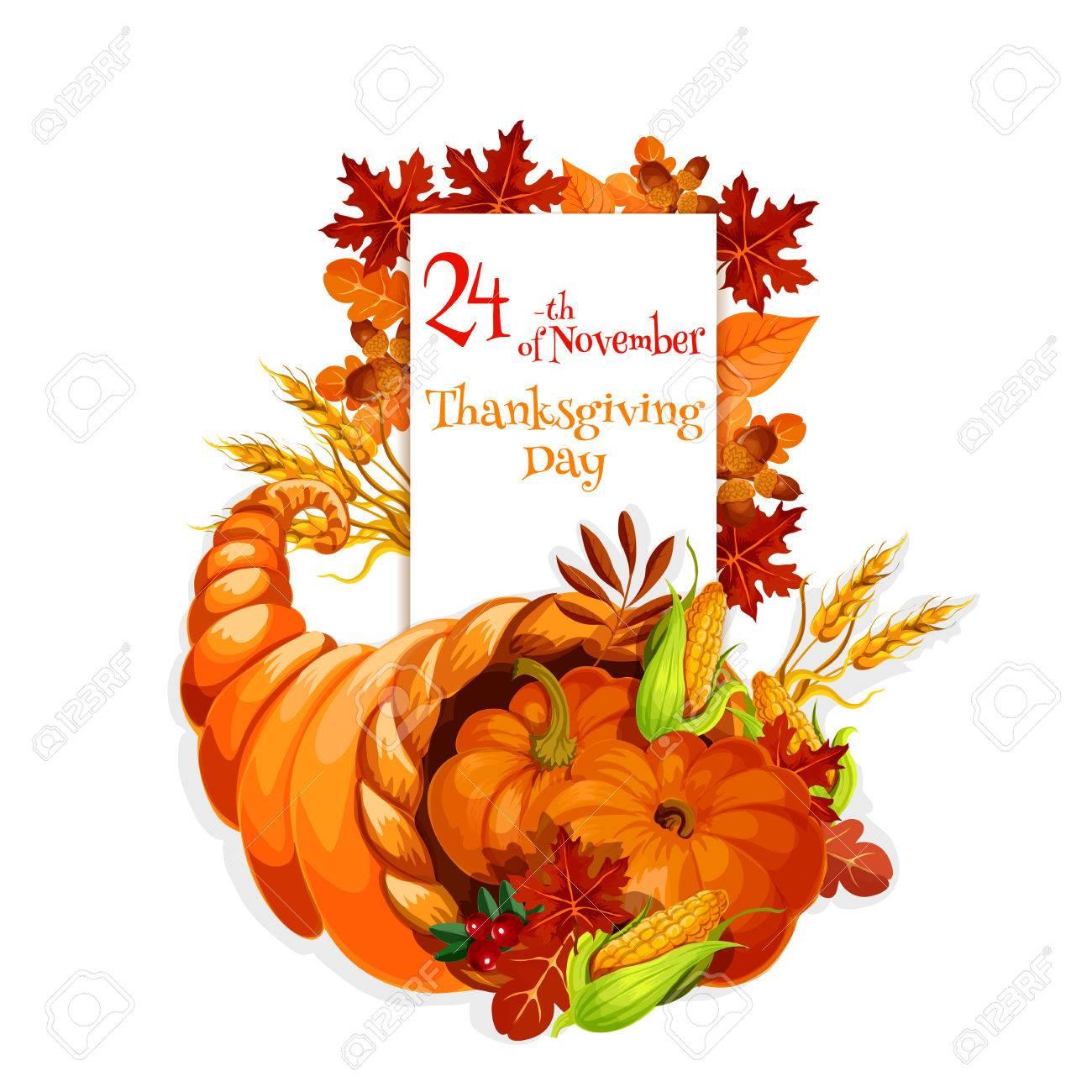 Diseño Cornucopia Día De Acción De Gracias Para El Saludo De