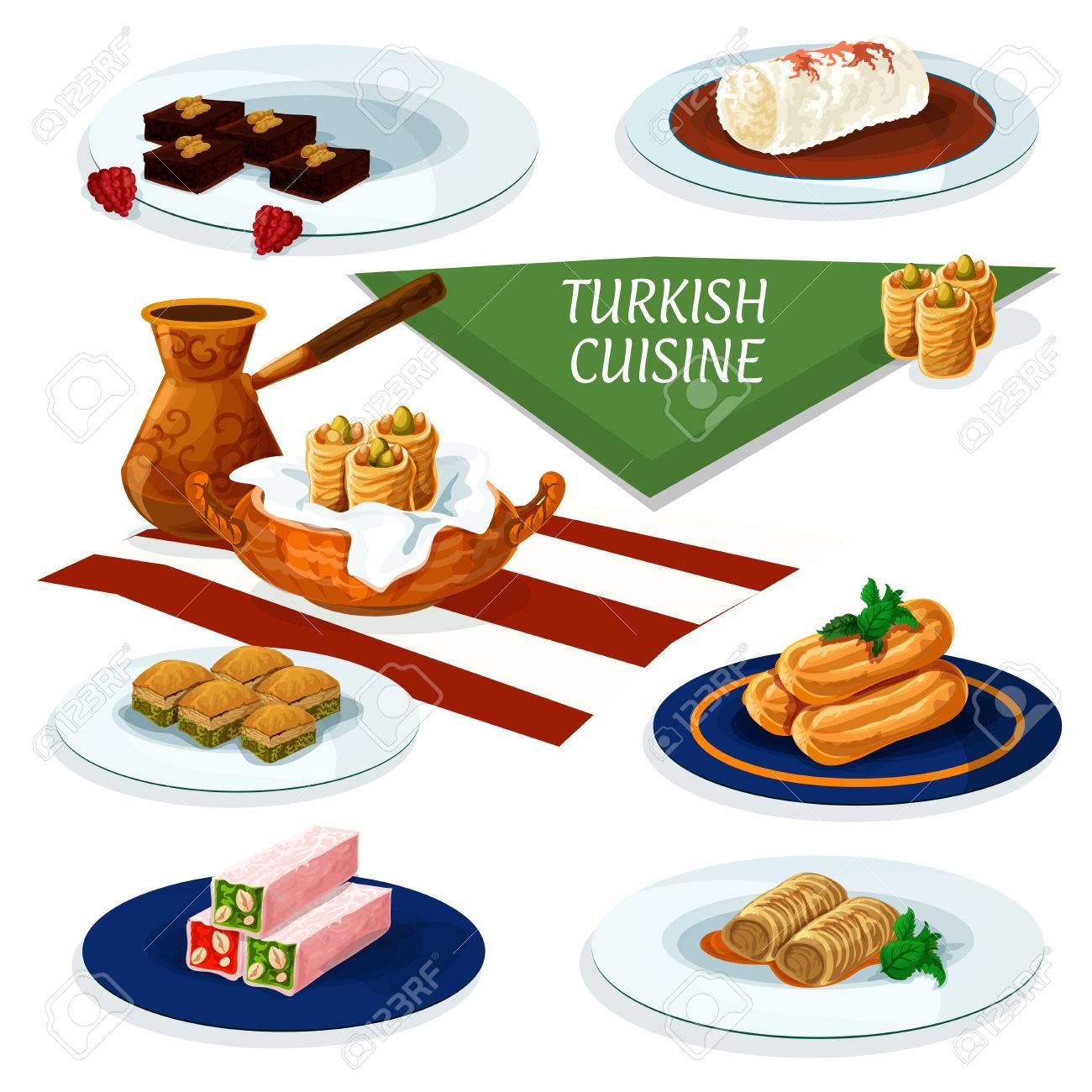 Turkische Und Osmanische Kuche Desserts Mit Kaffee Comic Ikone Der