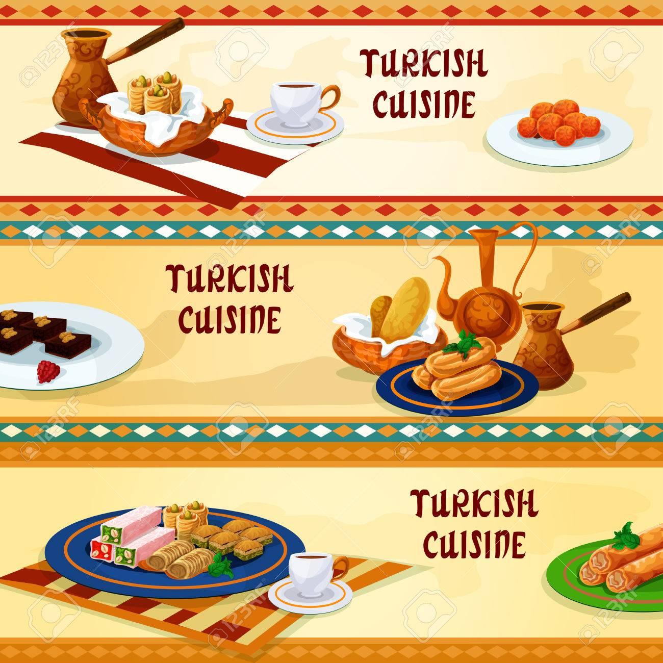 Turkische Kuche Nachtischmenu Banner Mit Naturlichen Kaffee Serviert