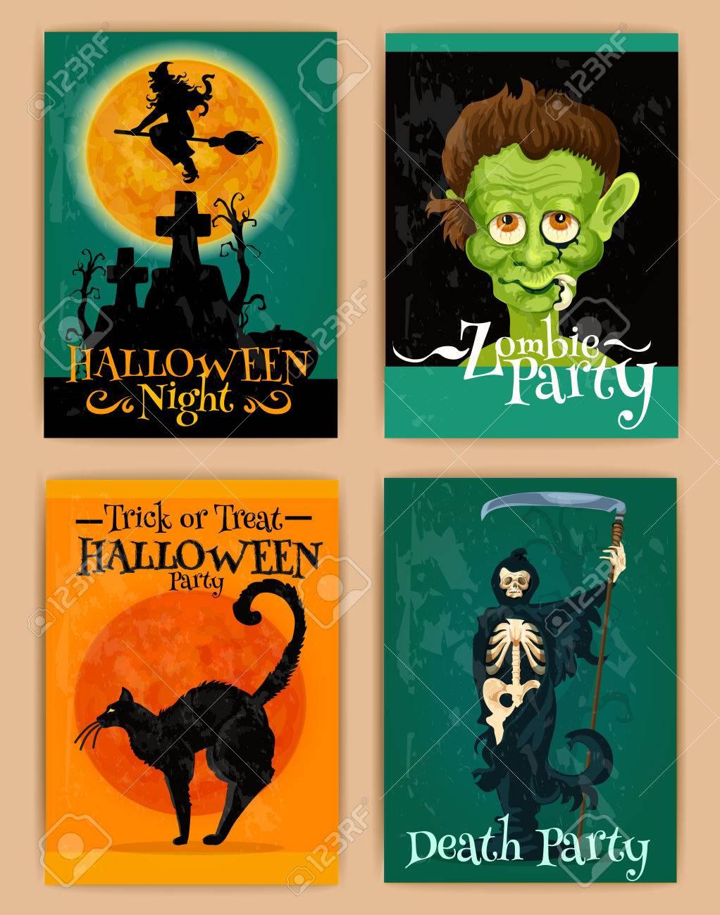 Rétro Affiches Stylisées Pour La Fête D Halloween Avec Des Personnages De Dessins Animés De Chat Noir Hanté Maison De Sorcière Monstre Squelette