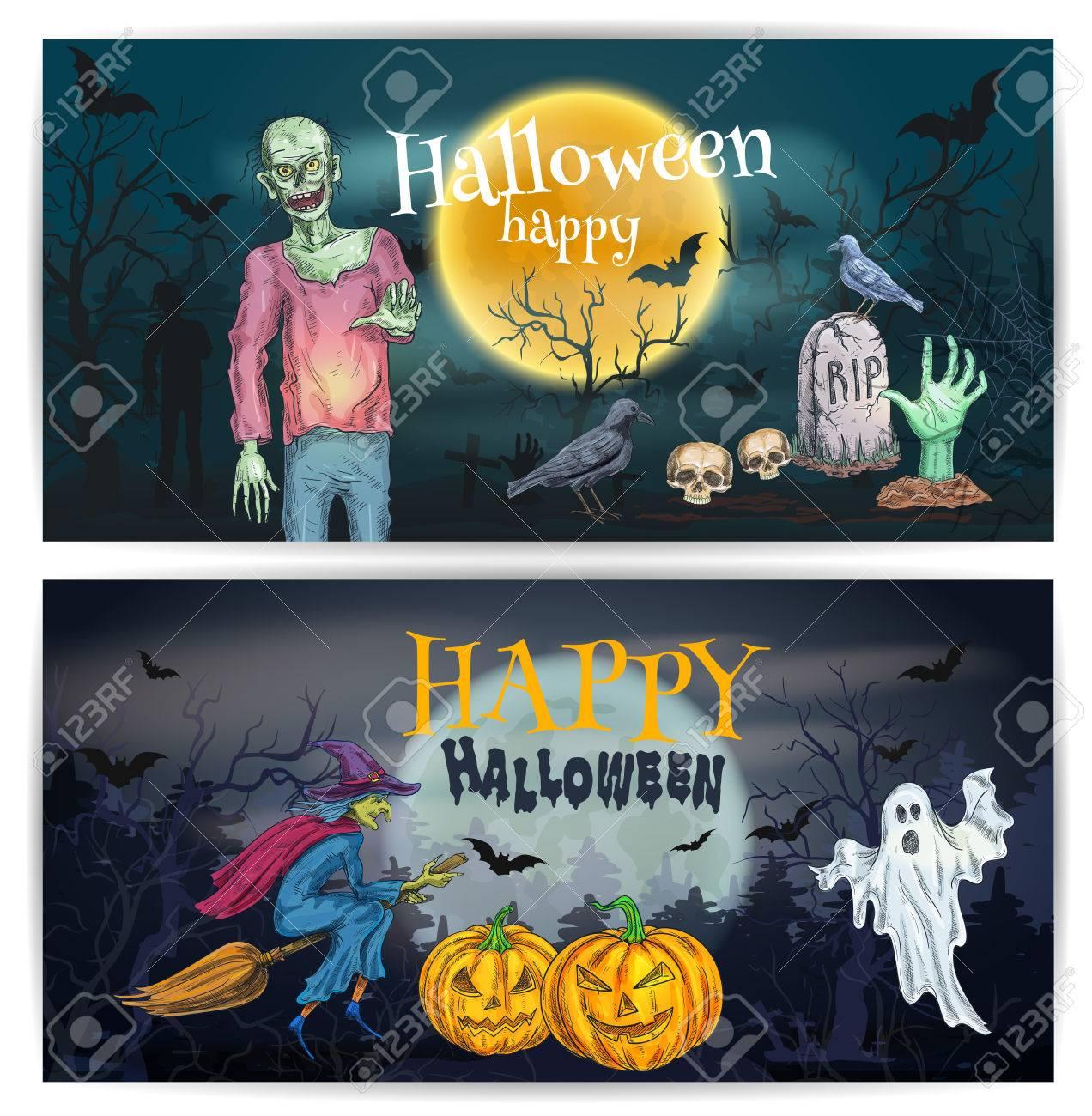 Spooky Halloween Pumpkin Lantern, Walking Zombie, Flying Ghost, Witch  Broom, Night Grave