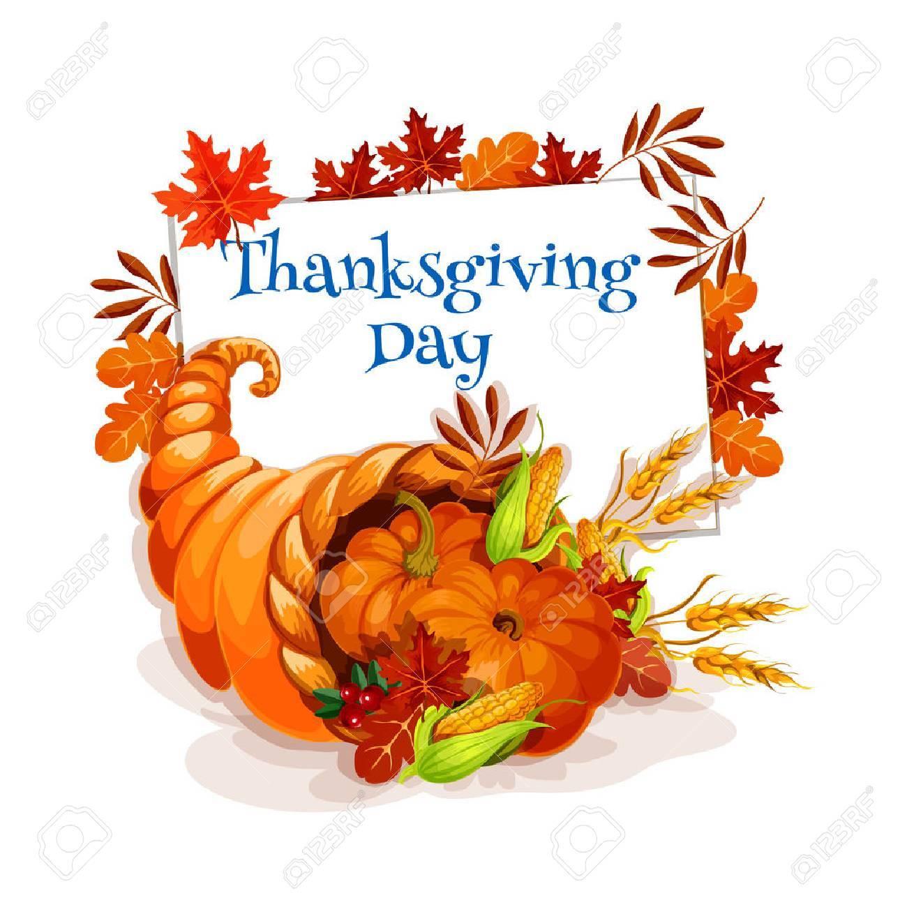 Thanksgiving Day Cornucopia Greeting Card Vector Design Template