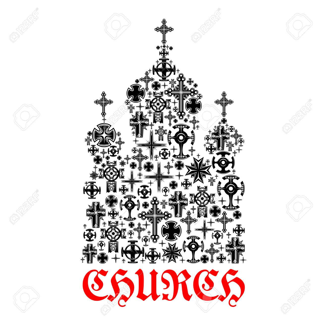 Church icon religion christianity cross symbols in shape of church icon religion christianity cross symbols in shape of temple for religious decoration emblem and buycottarizona Gallery