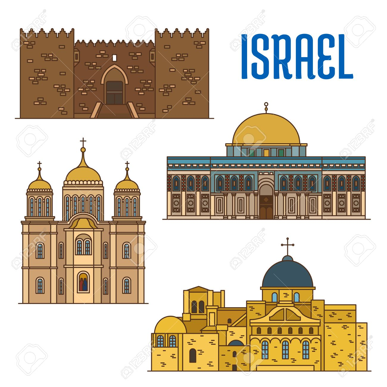 Israel vector detailed architecture icons of damascus gate al aqsa israel vector detailed architecture icons of damascus gate al aqsa mosque monastery ein buycottarizona Gallery