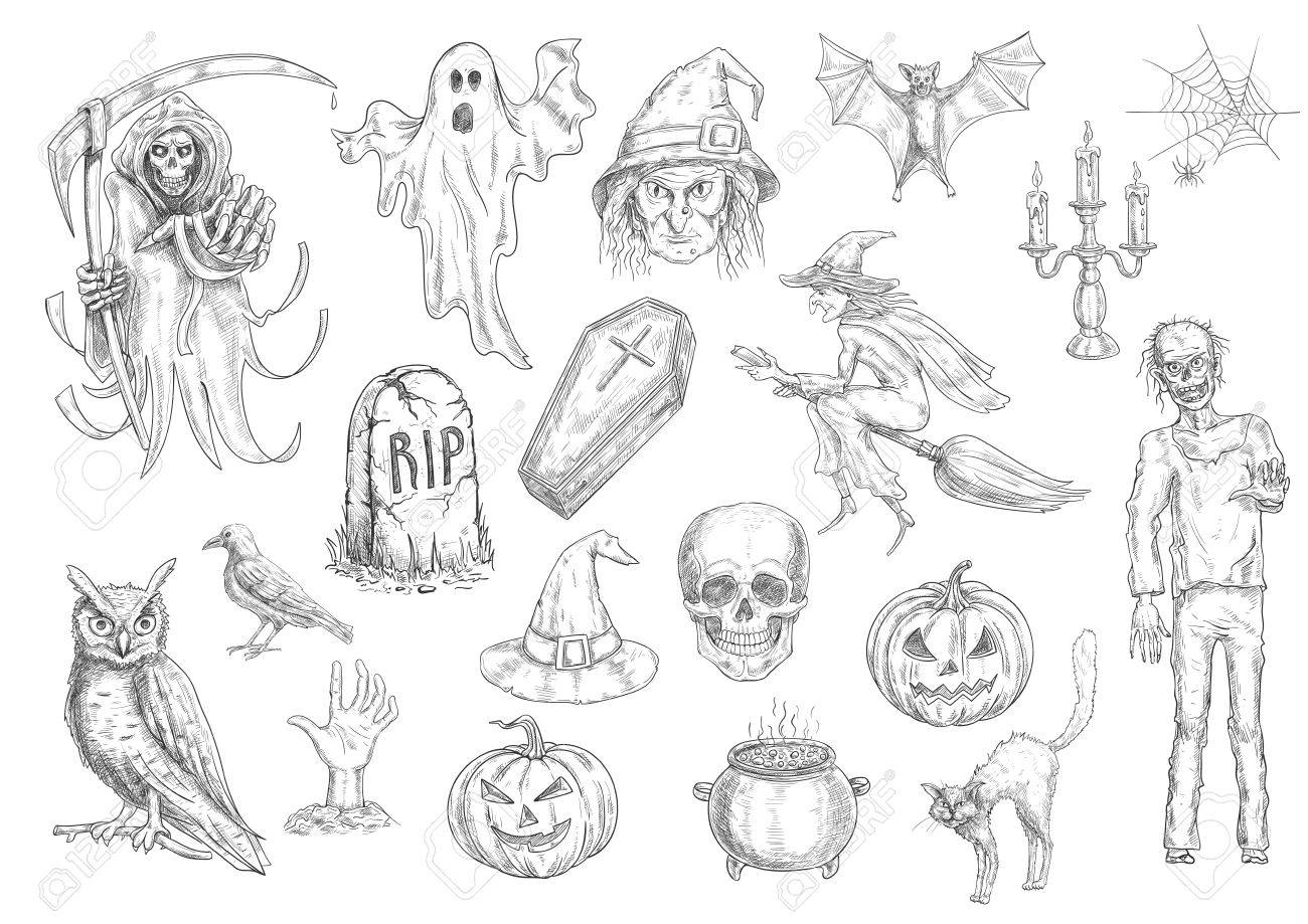 Halloween holiday creepy and horror sketch symbols of pumpkin halloween holiday creepy and horror sketch symbols of pumpkin lantern skull coffin witch biocorpaavc Choice Image