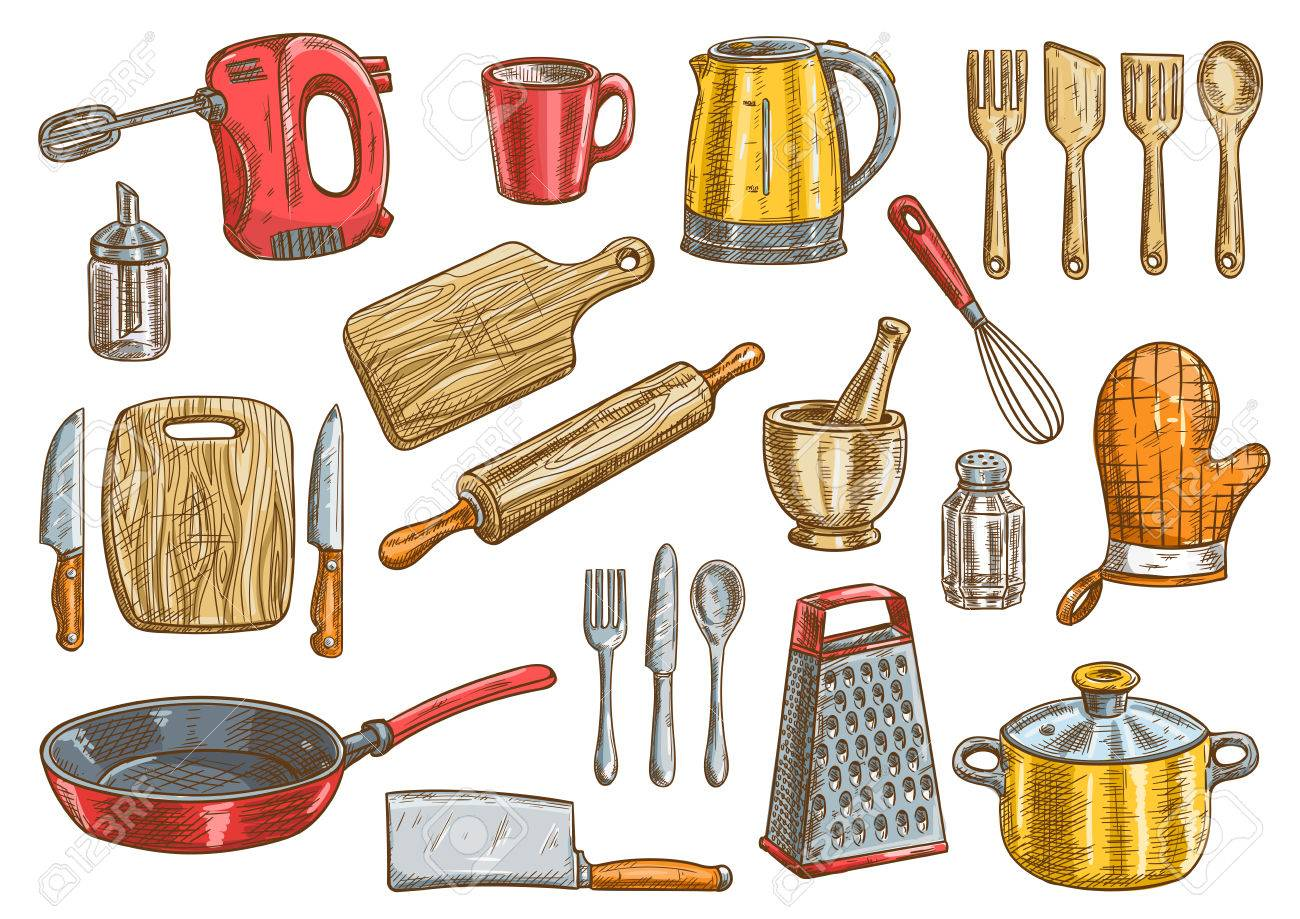 kitchen utensils. Vector Kitchen Tools Set. Kitchenware Appliances Isolated Elements. Cooking Utensils And Cutlery Icons O