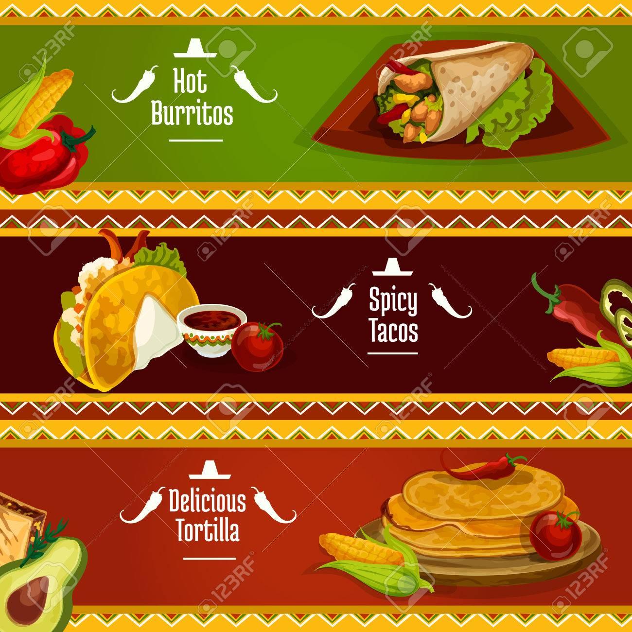 Mexikanische Küche Würzigen Tacos, Burritos Und Tortilla-Banner Mit ...