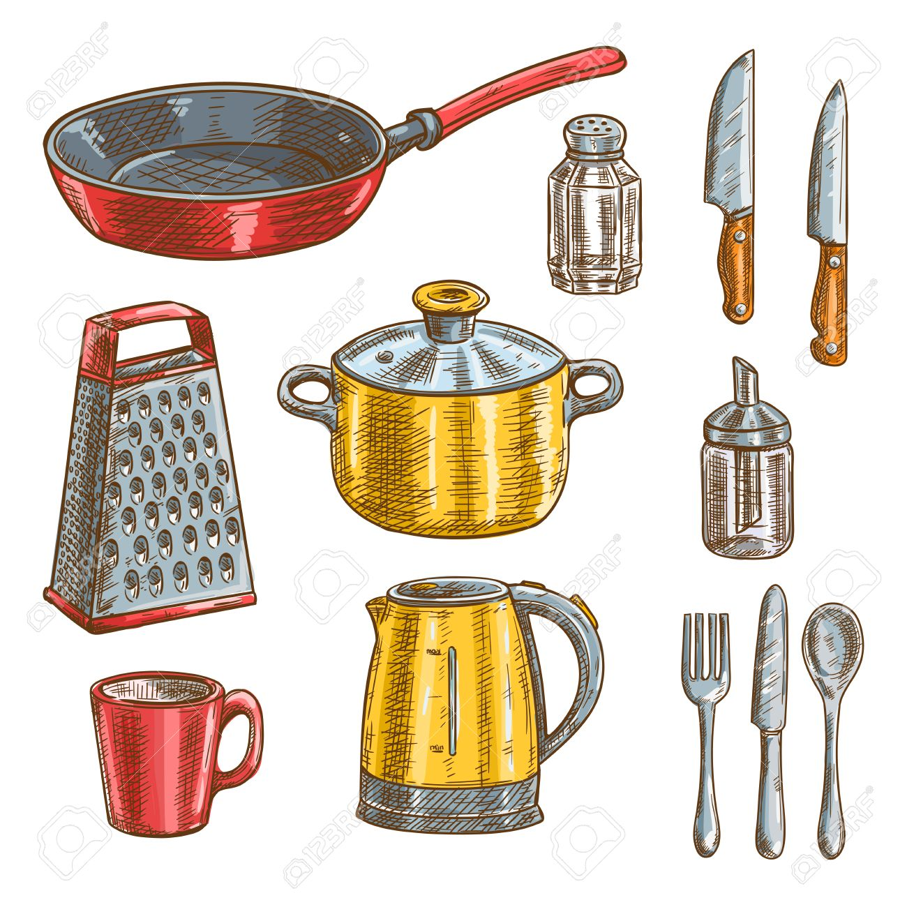 Kitchen and cooking utensils sketches of knife, spoon, fork, pot, frying pan, cup, grater, electric kettle, glass salt shaker and sugar dispenser - 64242445