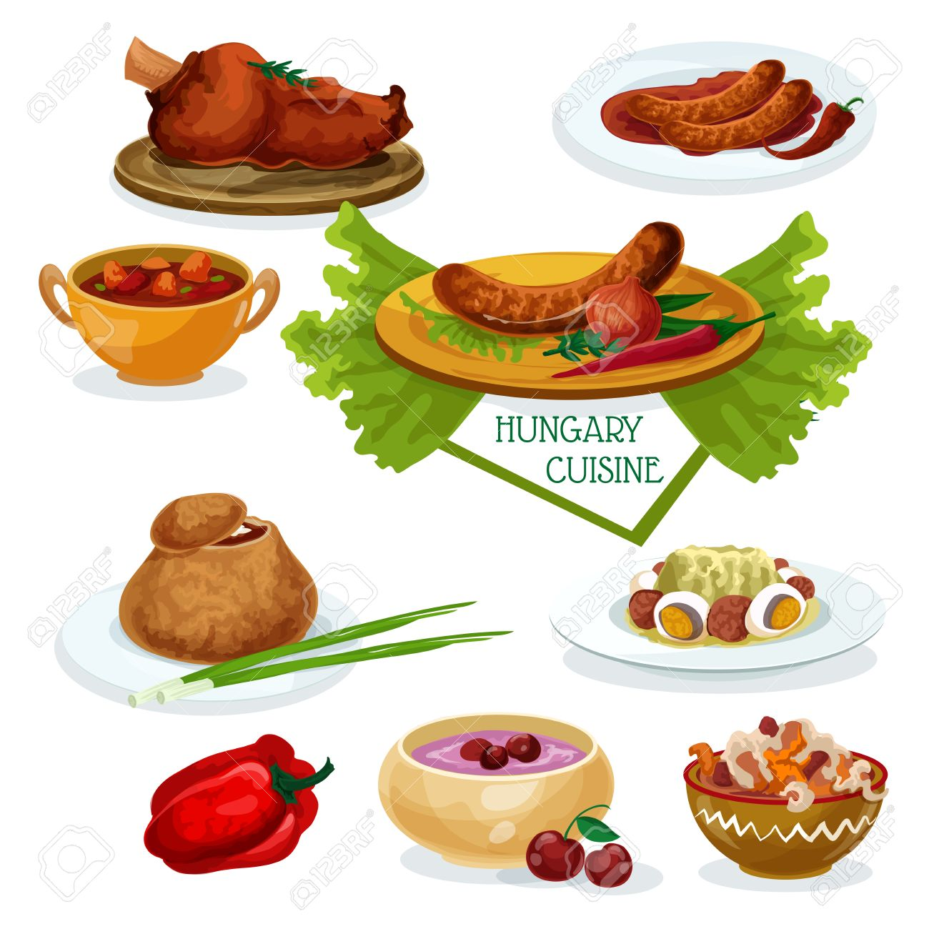 Hungarian Cuisine Menu Cartoon Icon With Beef Goulash Smoked Meat Chilly Sausage Meat