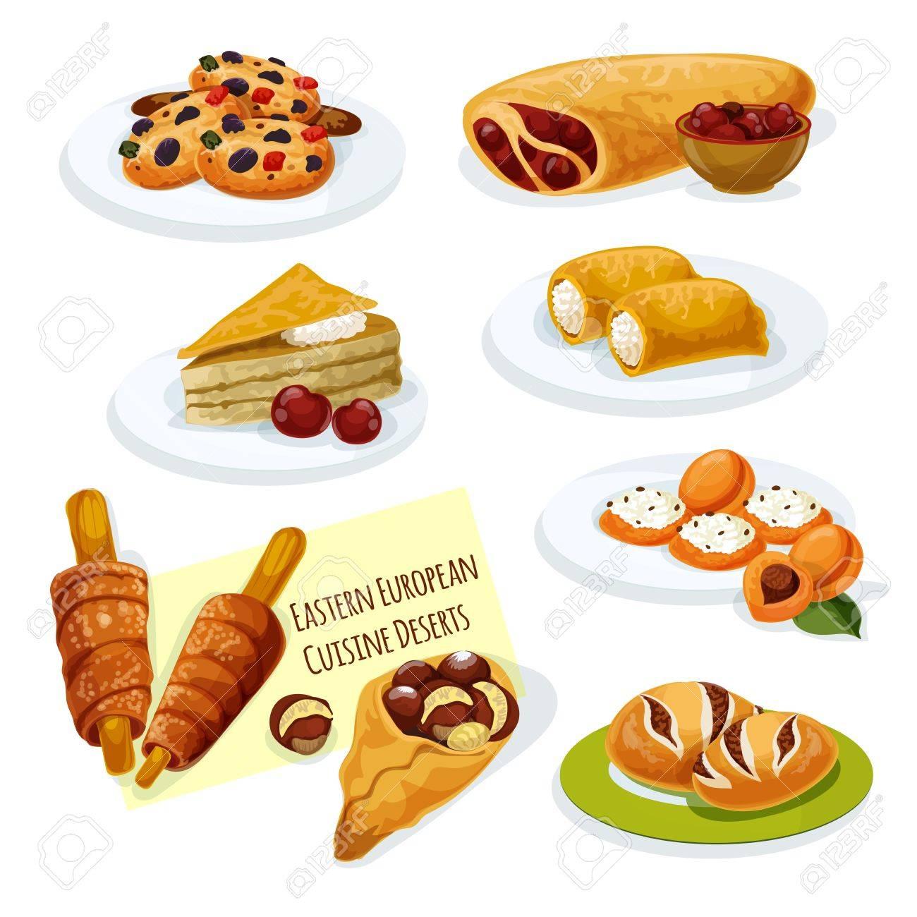 Eastern European Cuisine Desserts Cartoon Icon With Cherry Strudel