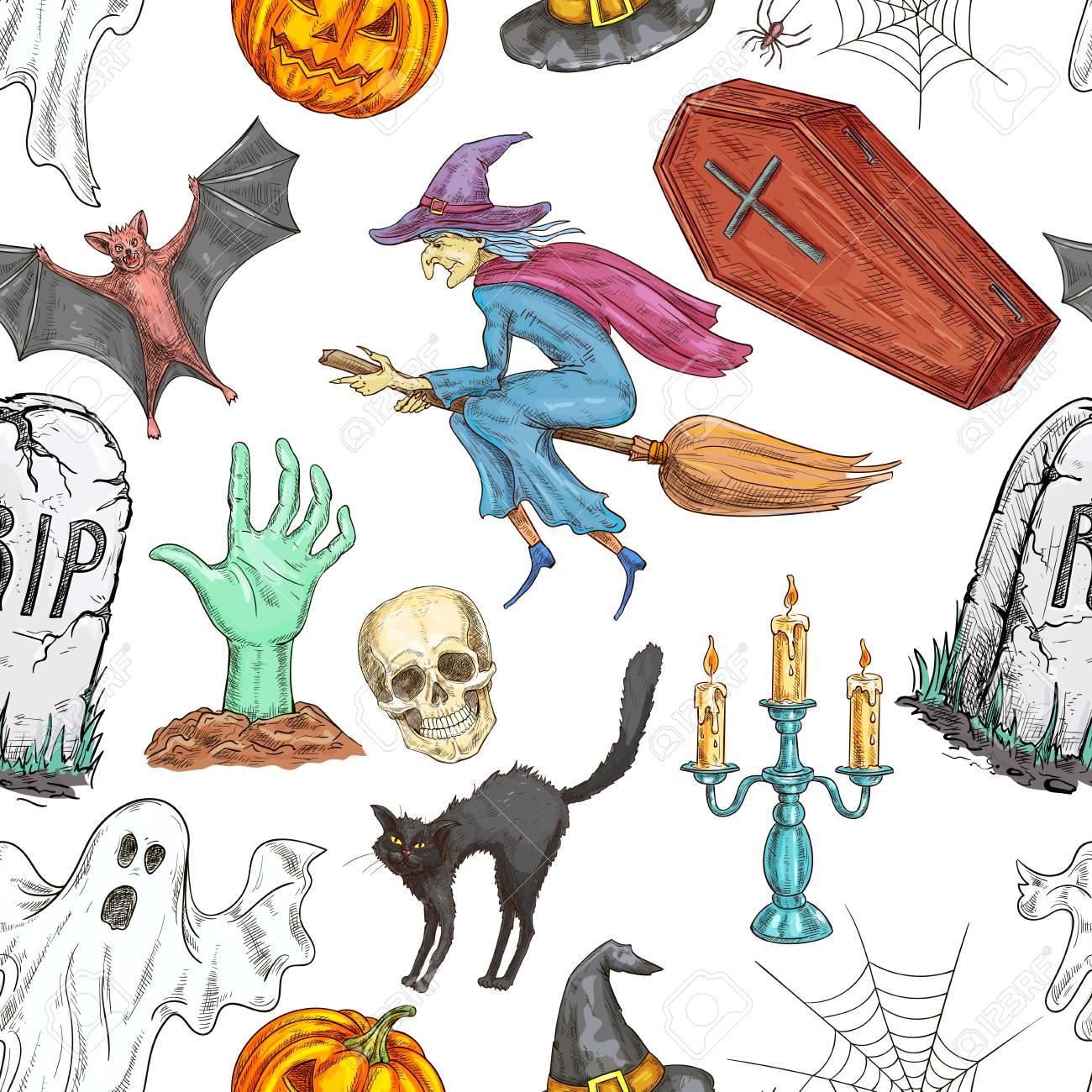 halloween pattern vector seamless pattern of color sketch pumpkin rh 123rf com Scary Halloween Graphics Scary Halloween Graphics