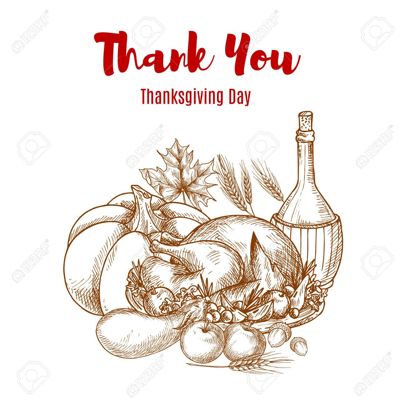 Thanksgiving autumn harvest sketch decoration thank you greeting thanksgiving autumn harvest sketch decoration thank you greeting card vector sketch design seasonal food m4hsunfo