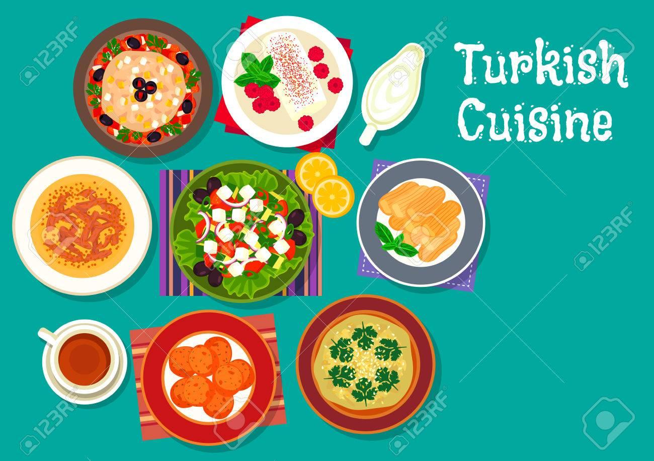 Turkische Kuche Symbol Mit Gegrillten Auberginen Salat Lammsuppe