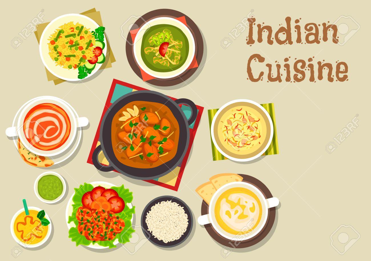 Indische Küche Vegetarische Pilaureis Symbol Serviert Mit Putencurry ...