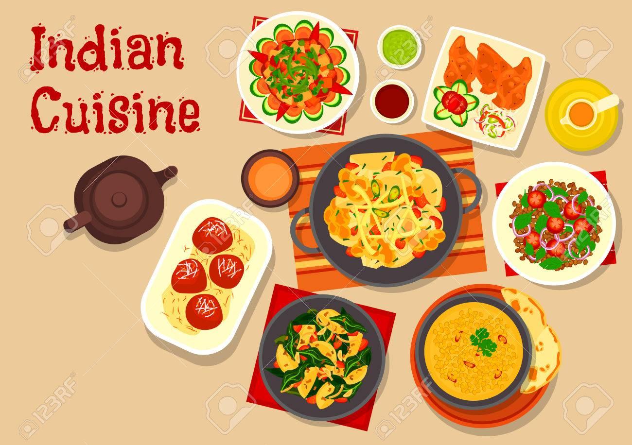Indische Küche Vegetarische Gerichte Symbol Mit Linsensuppe ...