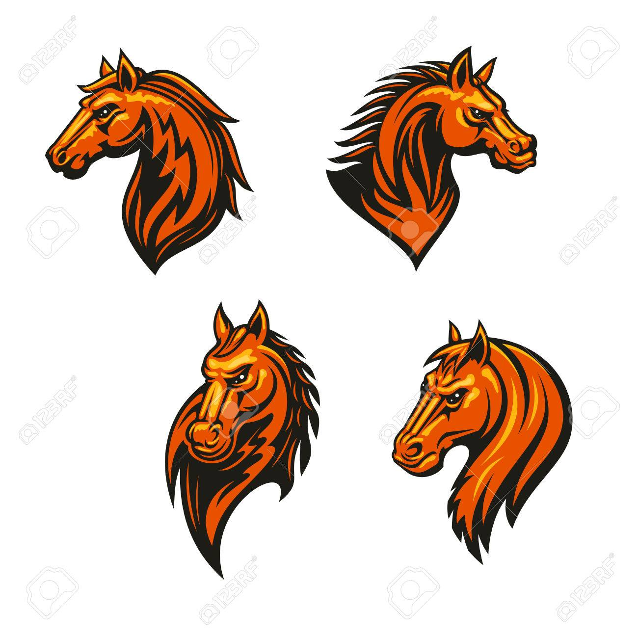 Tribal Horse Head With Flaming Mane Icon Set Wild Horse And Royalty Free Cliparts Vectors And Stock Illustration Image 64253767