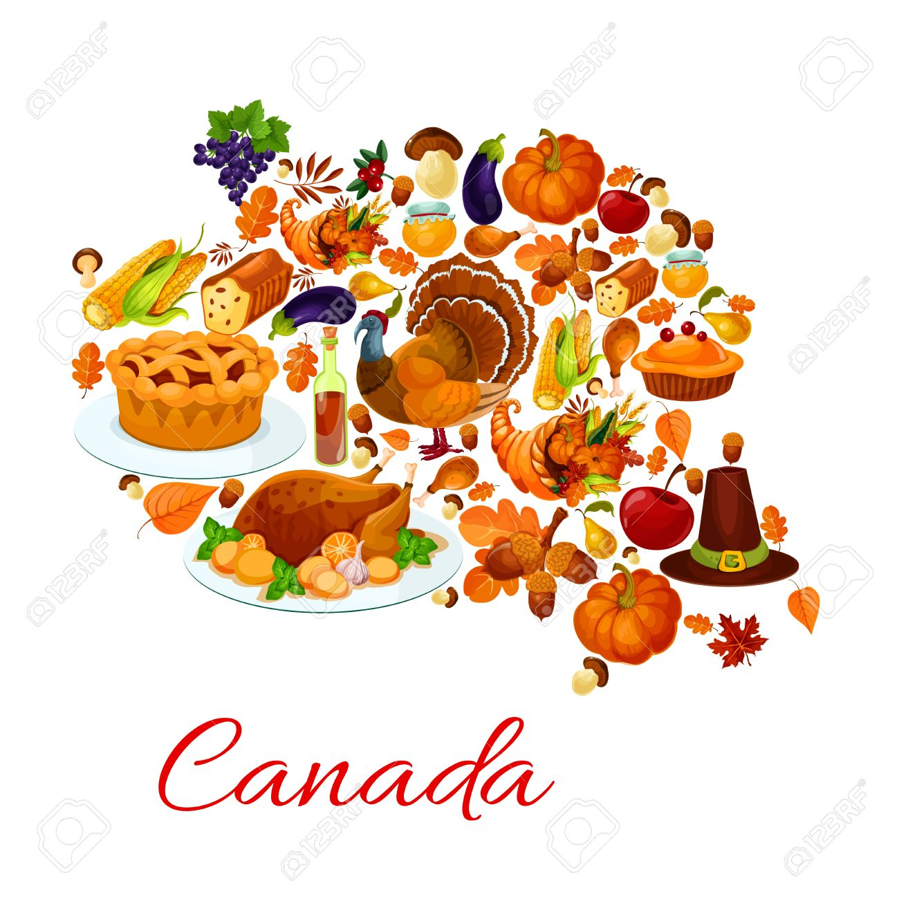 Thanksgiving Celebration Holiday Symbols In Canada Map Vector