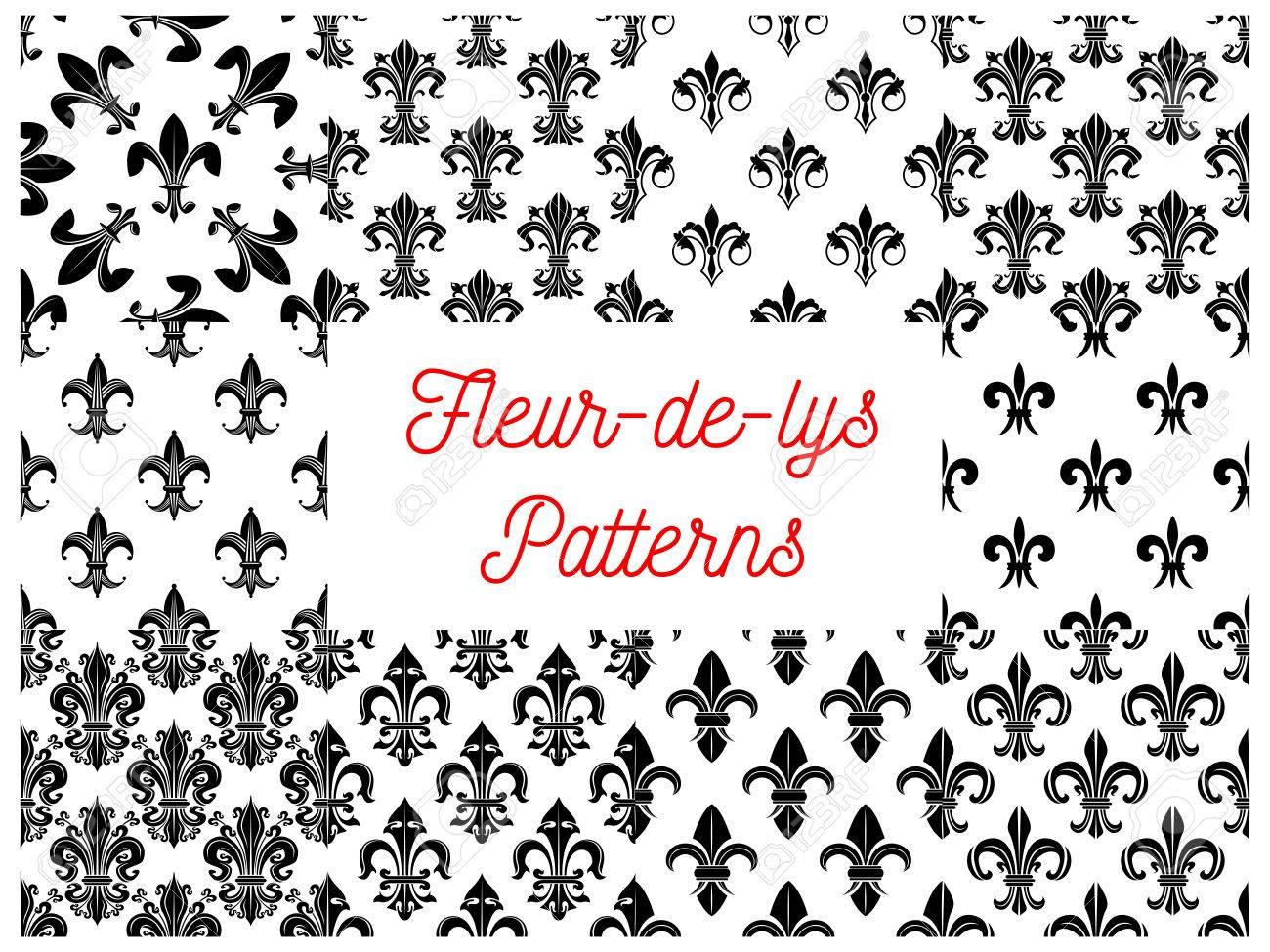 Patrones De Costura Heráldicos De Fleur-de-lys. Vectro Patrón De La ...
