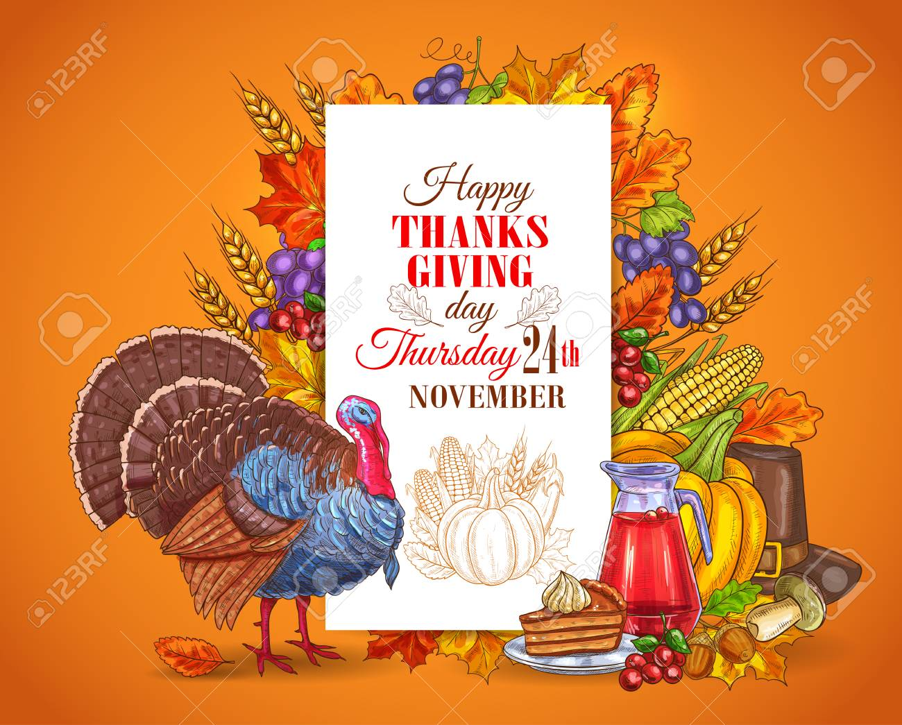 Happy Thanksgiving Day Greeting Card Banner Traditional November
