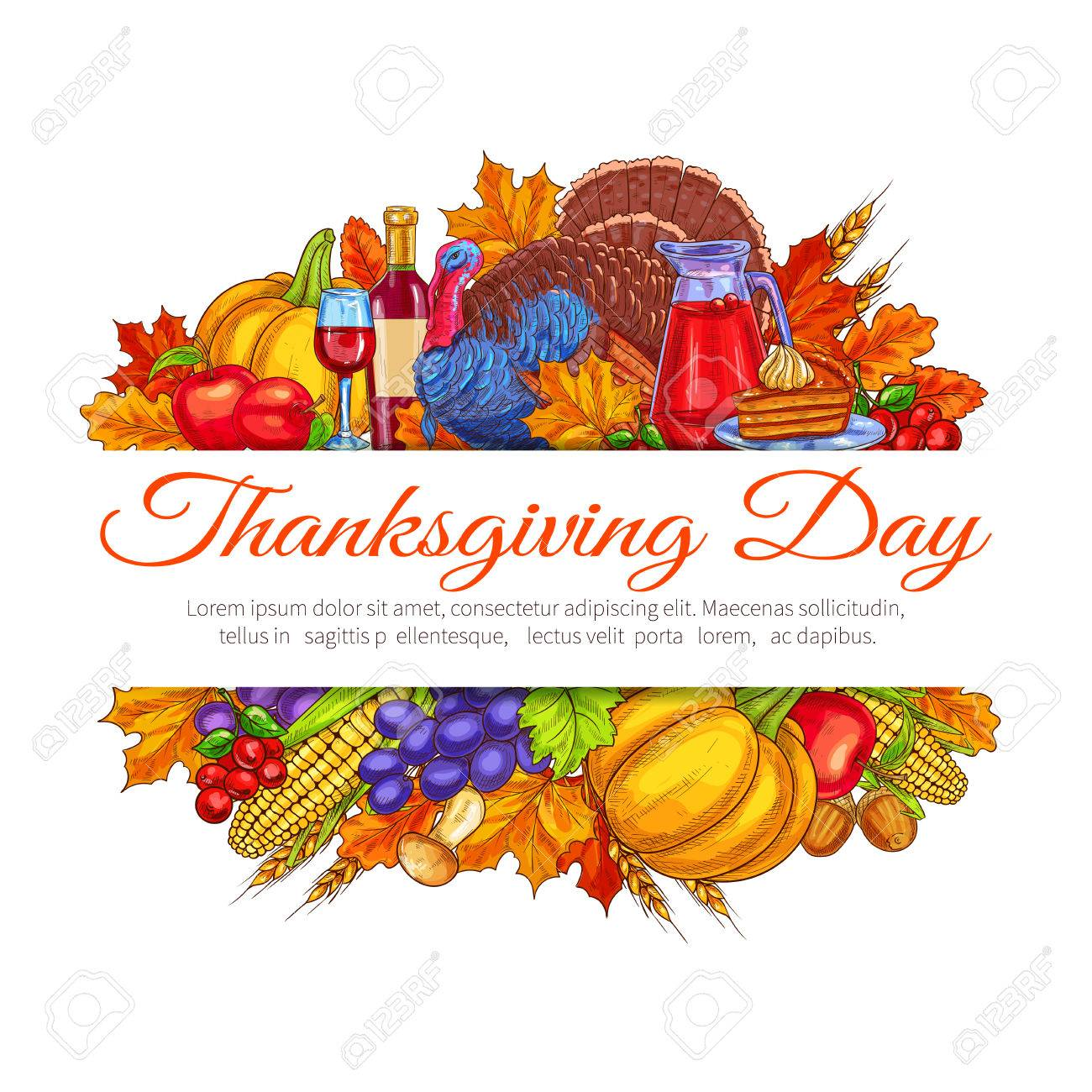 Thanksgiving Day Greeting Card Decoration November Traditional