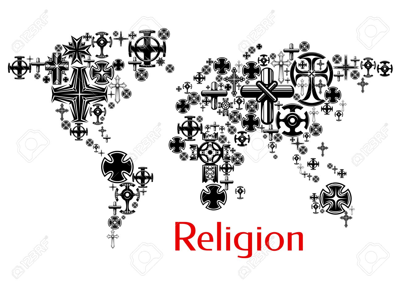 religion world map with christianity cross symbols map design