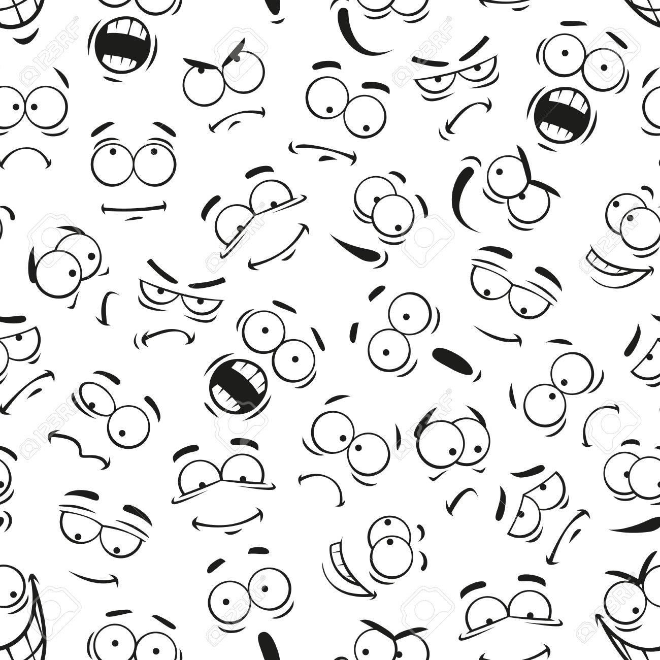 Rostro Humano Expresiones Patrón Vector Patrón De Caras De Dibujos Animados Con Expresiones Lindo Ojos Y La Boca Sonriente Feliz Y Molesto