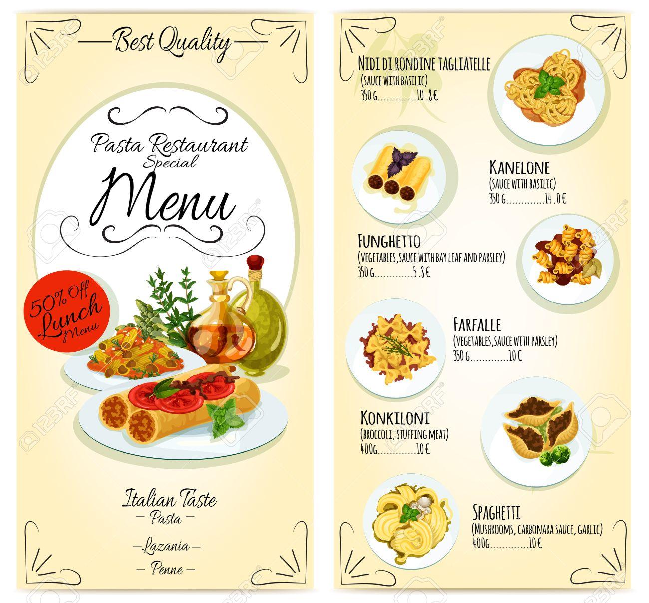 Italian Cuisine Restaurant Lunch Menu Card Template. Vector Icons ...
