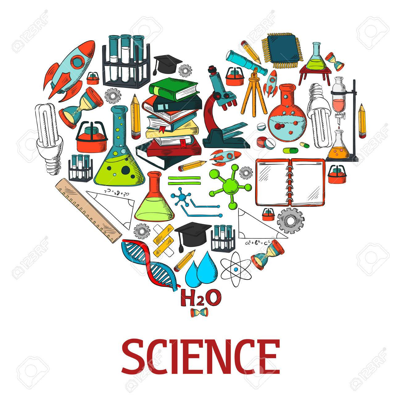 heart shape emblem with science vector icons scientific conceptual
