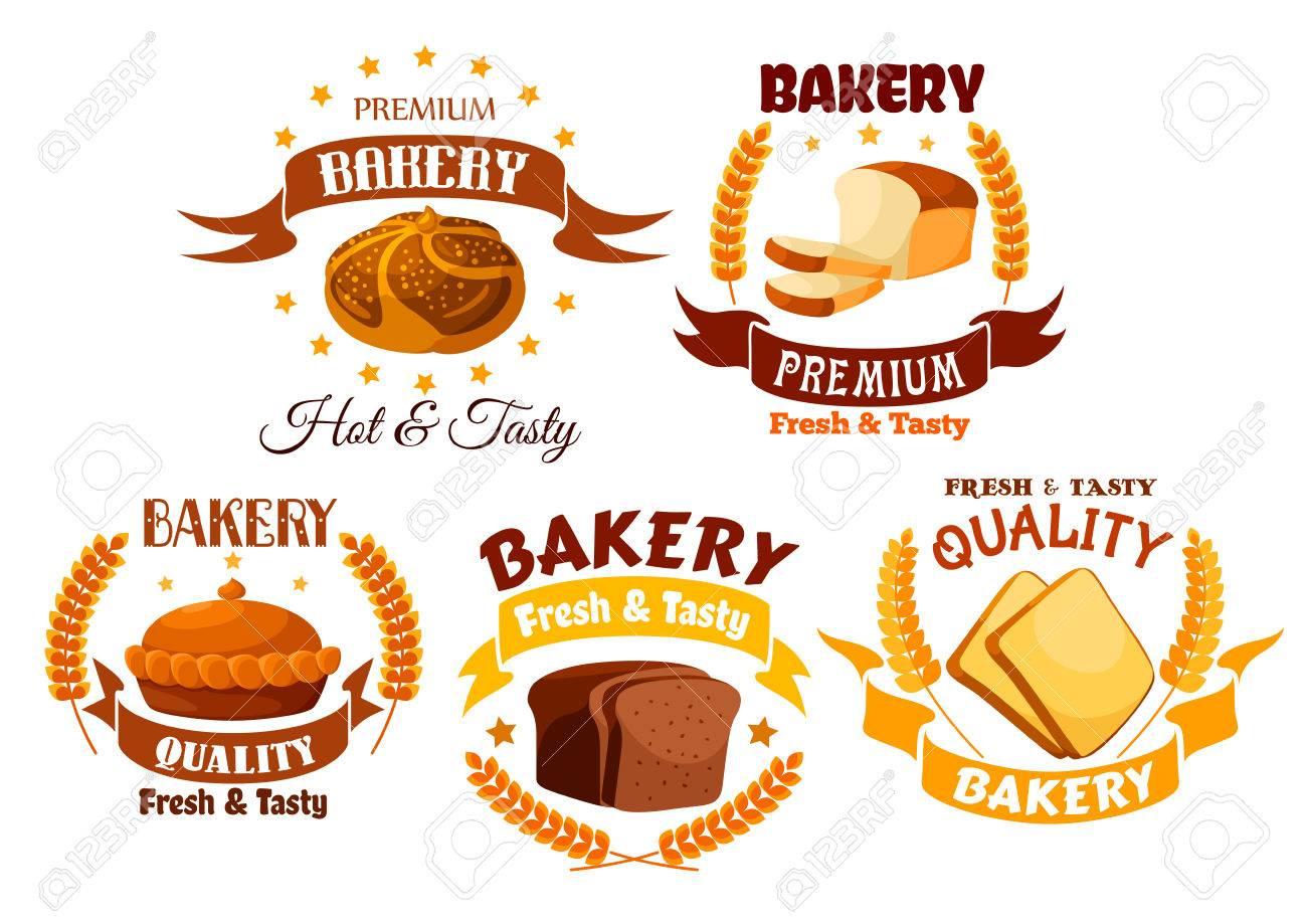 Wundervoll Bäckerei Shop Produkt Etiketten. Vector Gold Gelb Emblem Des Weißen Weizen  Und Braun