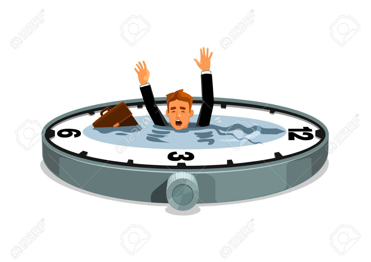 businessman sinking in time business and work overtime excess business and work overtime excess time lack vector