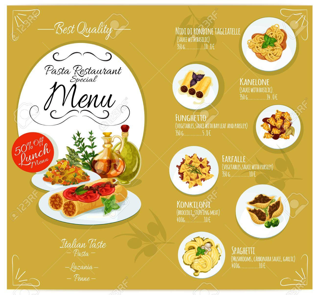 Plantilla De Tarjeta De Menú De Pasta Para Restaurante De Cocina ...