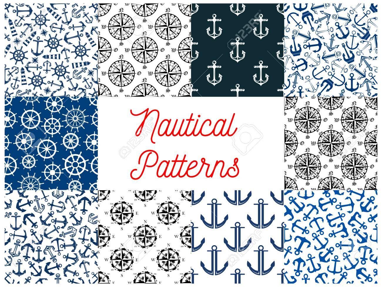 Patrones De Costura De La Marina Náutica. Conjunto De Vector Patrón ...