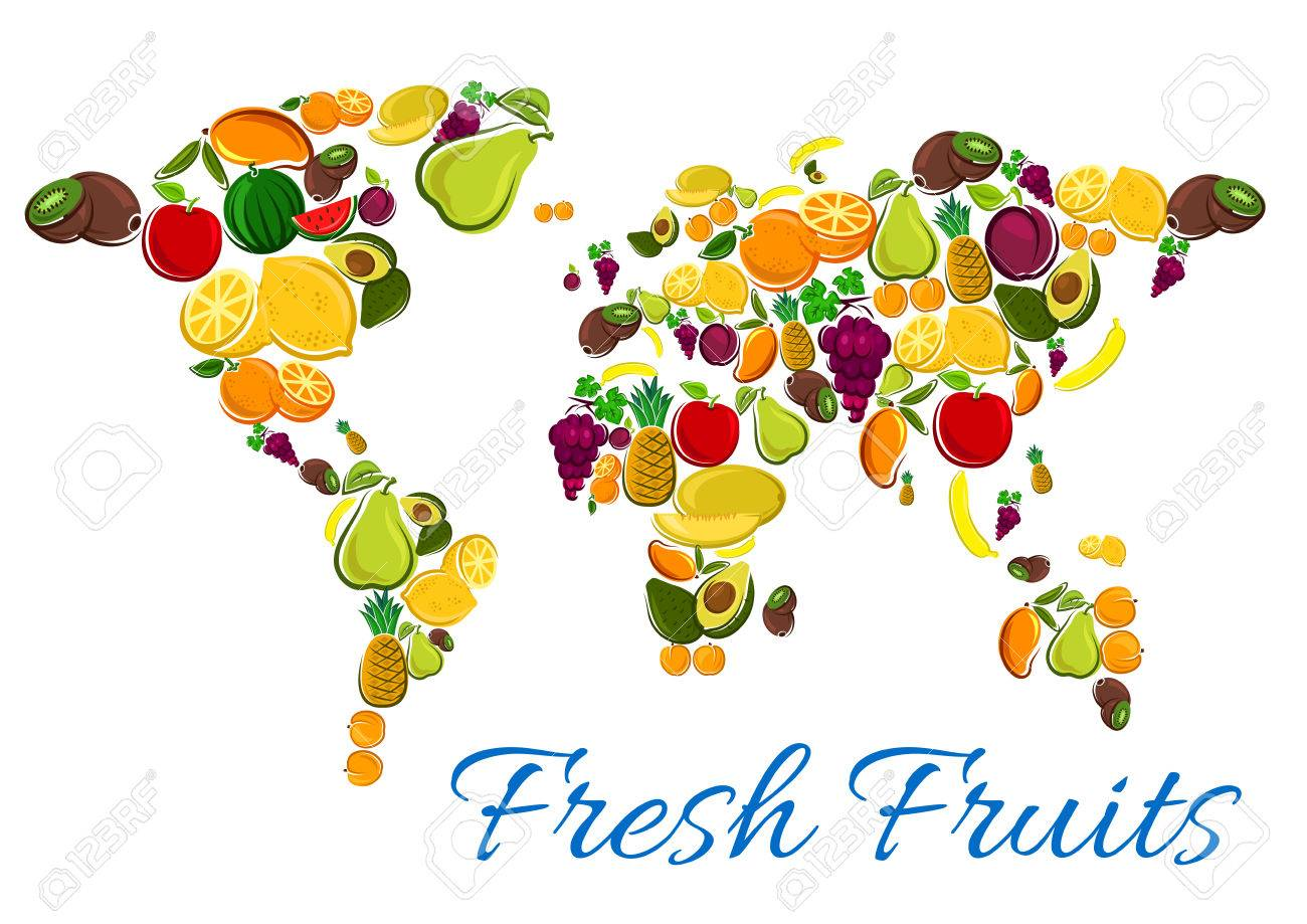 Fruits map vector icons of fresh fruit icons in shape world fruits map vector icons of fresh fruit icons in shape world map with continents gumiabroncs Images